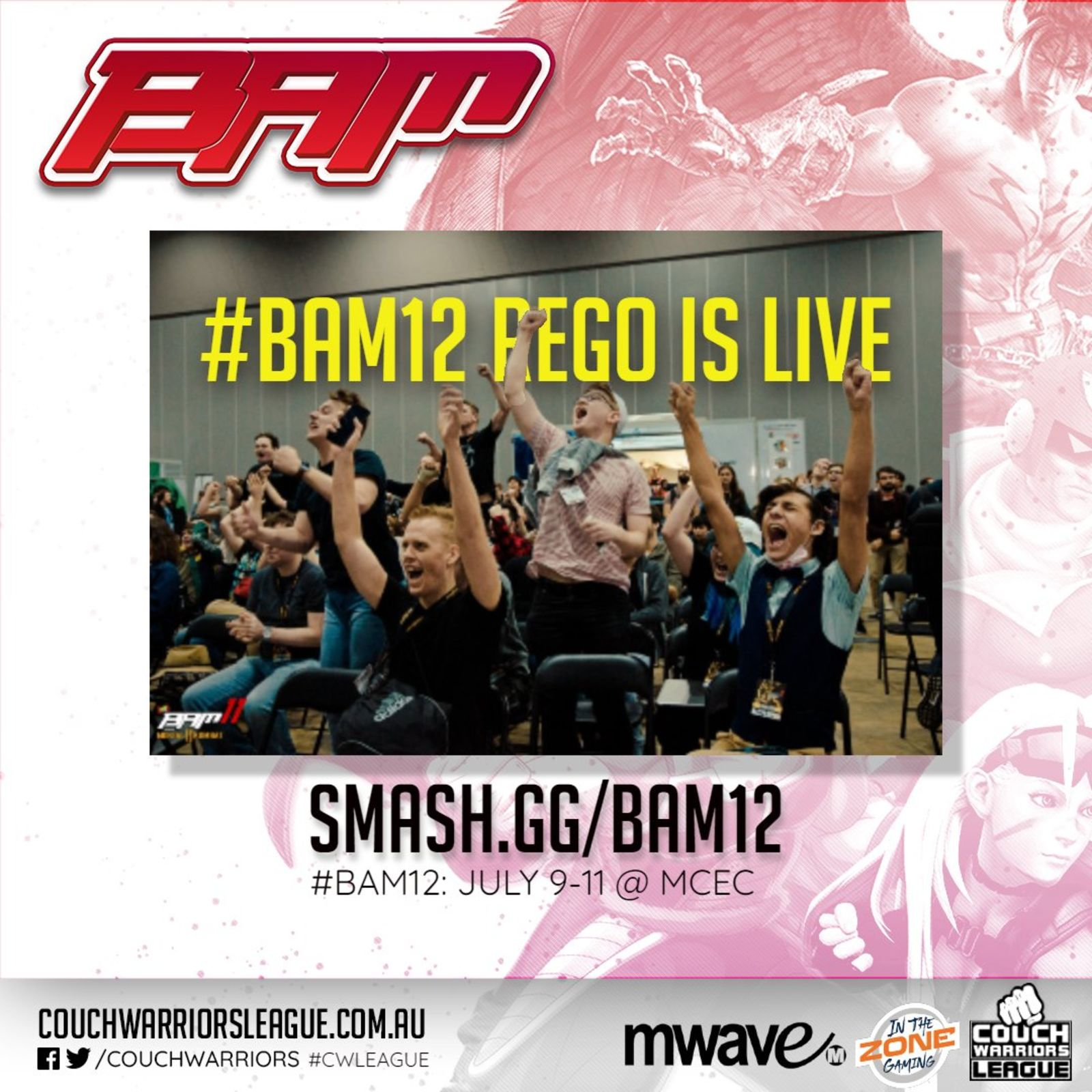Registrations are open now at smash.gg/BAM12