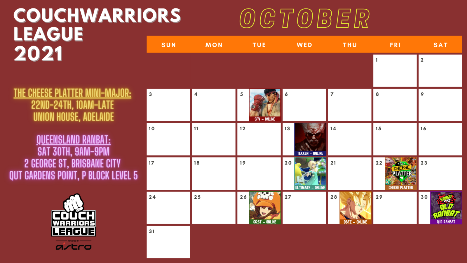 October Events Calendar Graphic